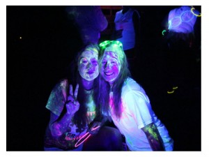Glow gals at neon 5k fun run