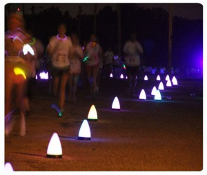 Night runners during neon fun run