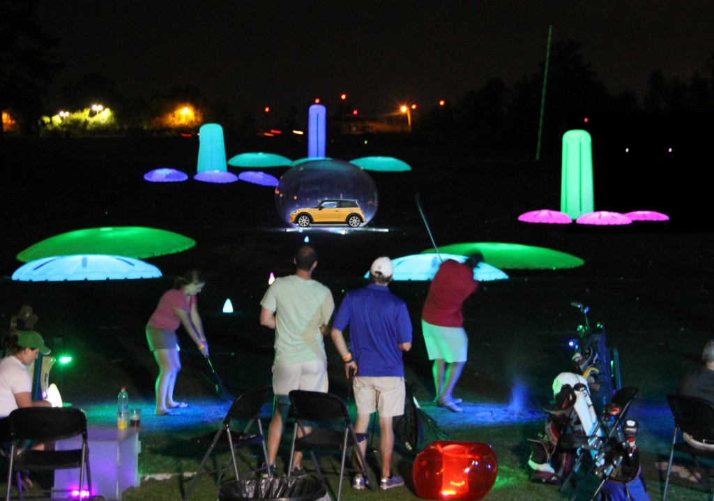The cosmic driving range is the ultimate in night golf fundraisers