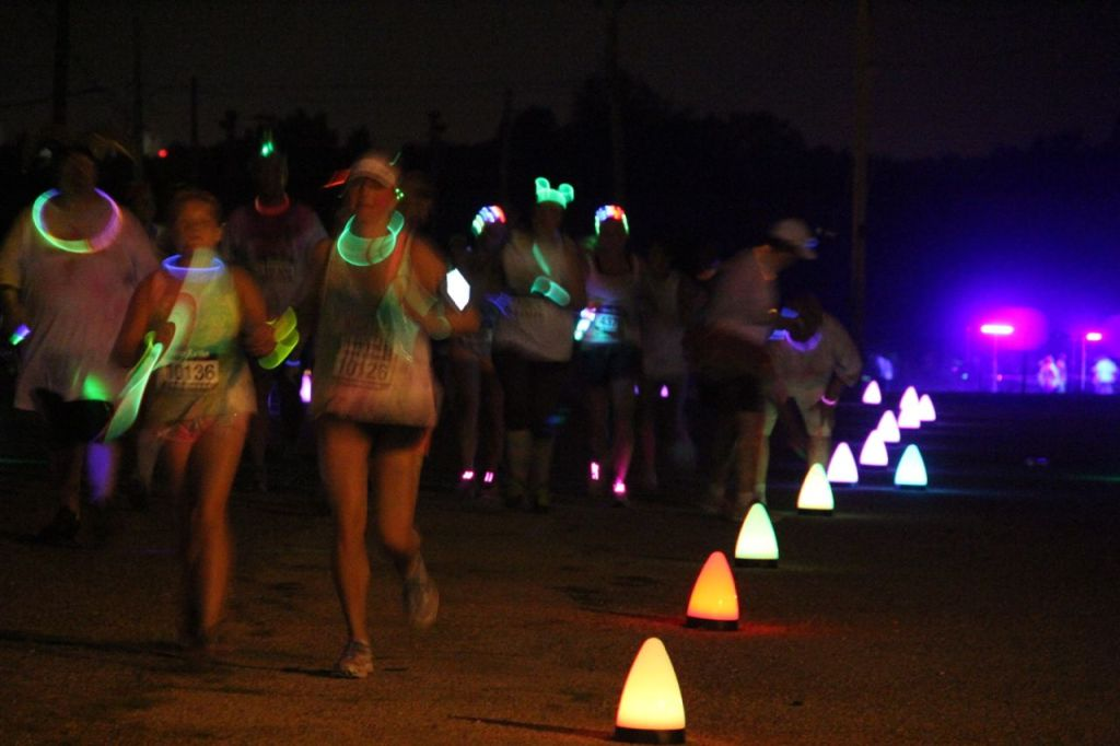 Neon fun run lighting and gear